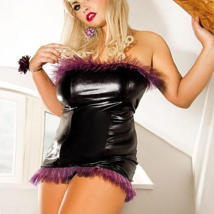 Sexy erotic Black Latex Corset Nigh..
