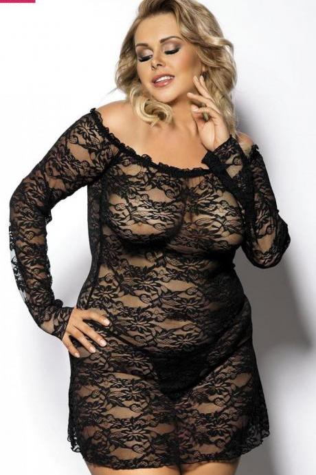 black sexy elastic lingerie dress chemise plus size 3X-4X