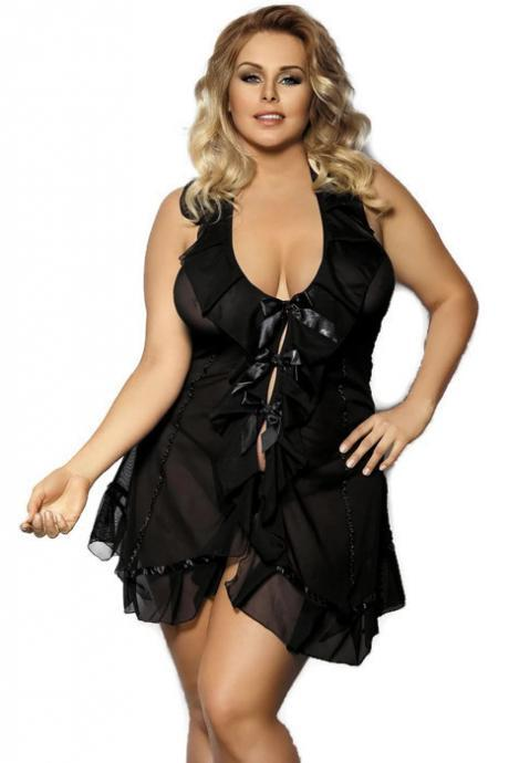 black sexy lingerie dress chemise plus size 5X-6X
