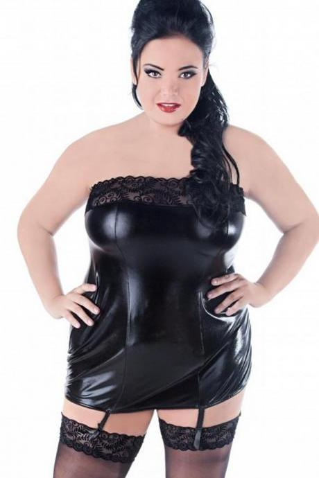 sexy wetlook dress - chemise lingerie plus size 1X 2X 3X 4X EU 38 - 56 UK 12-28